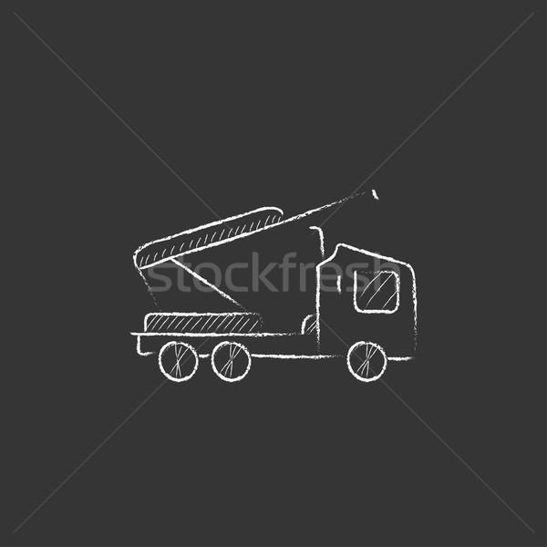 Machine with a crane and cradles. Drawn in chalk icon. Stock photo © RAStudio