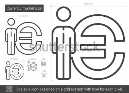 Сток-фото: бизнесмен · Постоянный · евро · символ · линия