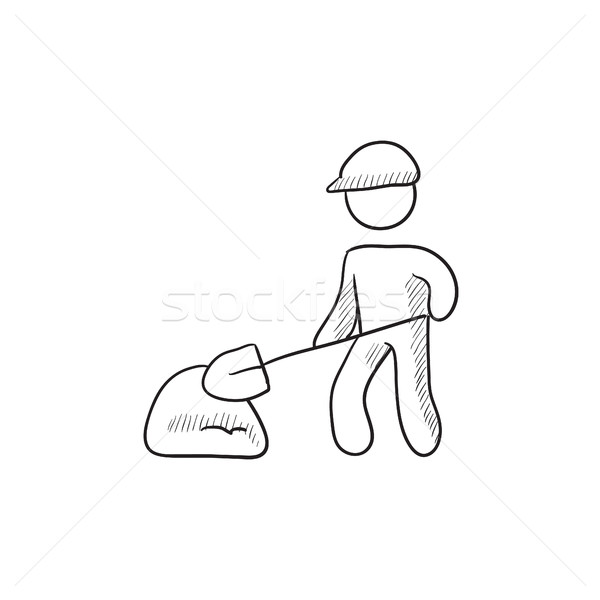 Man schop heuvel zand schets icon Stockfoto © RAStudio