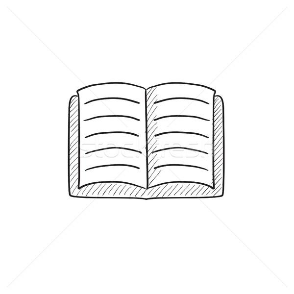 Nyitott könyv rajz ikon vektor izolált kézzel rajzolt Stock fotó © RAStudio