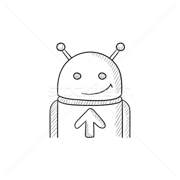 Android with arrow up sketch icon. Stock photo © RAStudio