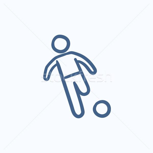Piłkarz piłka szkic ikona wektora odizolowany Zdjęcia stock © RAStudio