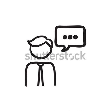 Man with speech square sketch icon. Stock photo © RAStudio