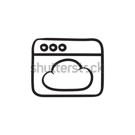 Böngésző ablak felhő rajz ikon vektor Stock fotó © RAStudio