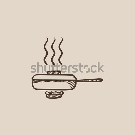 Frying pan with cover sketch icon. Stock photo © RAStudio