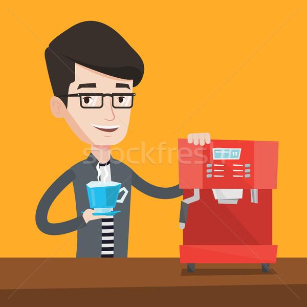 человека кофе молодые счастливым Сток-фото © RAStudio