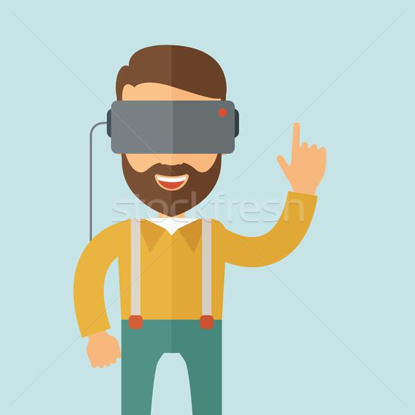Adam sanal gerçeklik kulaklık dizayn örnek Stok fotoğraf © RAStudio