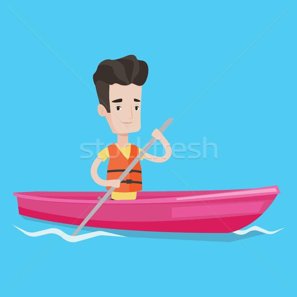 человека верховая езда байдарках спортсмен реке молодые Сток-фото © RAStudio
