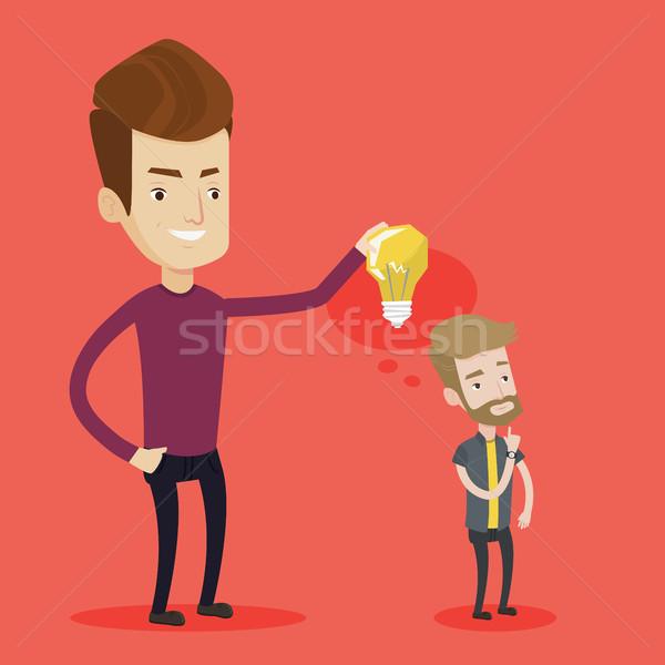 ストックフォト: ビジネスマン · アイデア · 電球 · パートナー · 若い男
