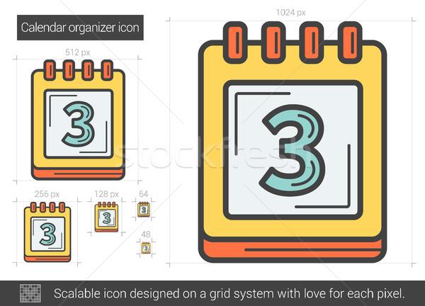 календаря организатор линия икона вектора изолированный Сток-фото © RAStudio