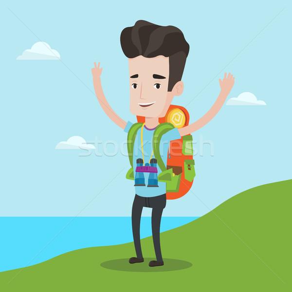 Backpacker handen omhoog genieten landschap toeristische rugzak Stockfoto © RAStudio
