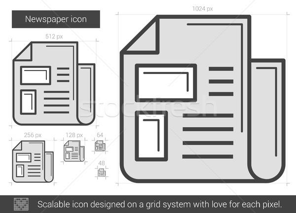 Periódico línea icono vector aislado blanco Foto stock © RAStudio