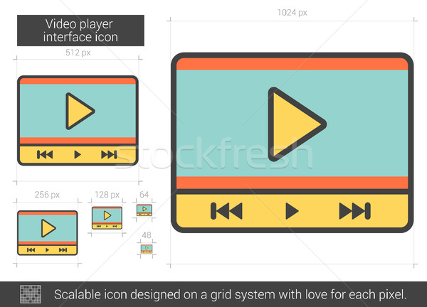 Video player interface line icon. Stock photo © RAStudio