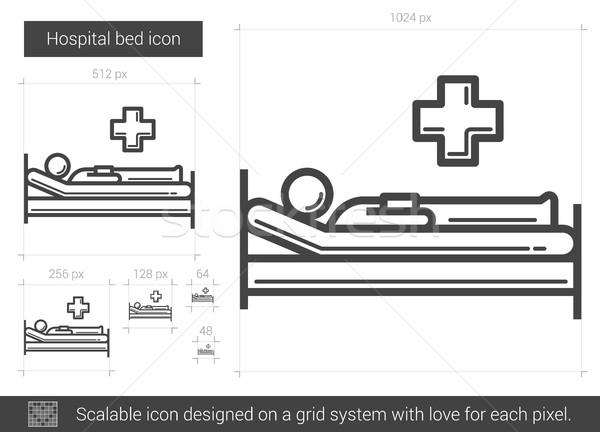 病院用ベッド 行 アイコン ベクトル 孤立した 白 ストックフォト © RAStudio