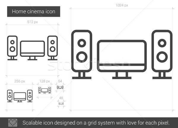 Сток-фото: Домашние · кинотеатры · линия · икона · вектора · изолированный · белый