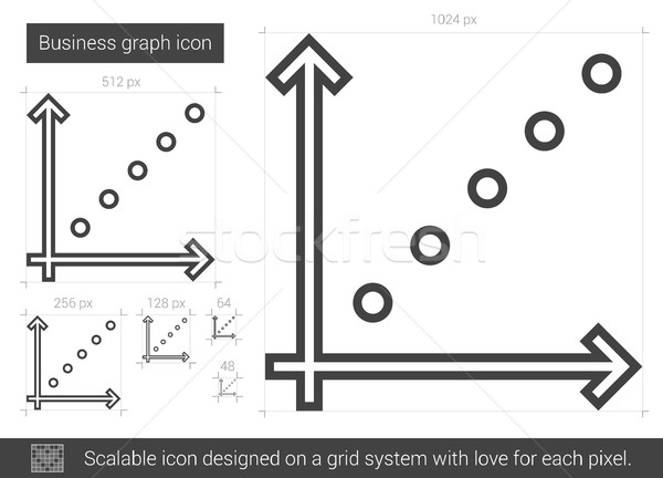 бизнес-графика линия икона вектора изолированный белый Сток-фото © RAStudio