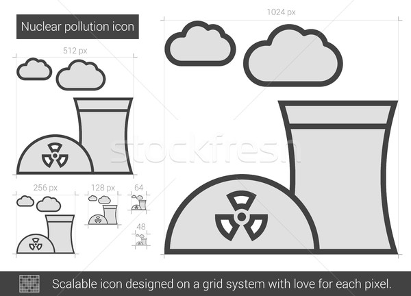 Jądrowej zanieczyszczenia line ikona wektora odizolowany Zdjęcia stock © RAStudio