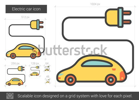 Electric car line icon. Stock photo © RAStudio