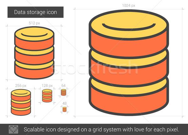 Adattárolás vonal ikon vektor izolált fehér Stock fotó © RAStudio