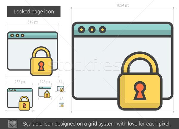 Zárolt oldal vonal ikon vektor izolált Stock fotó © RAStudio