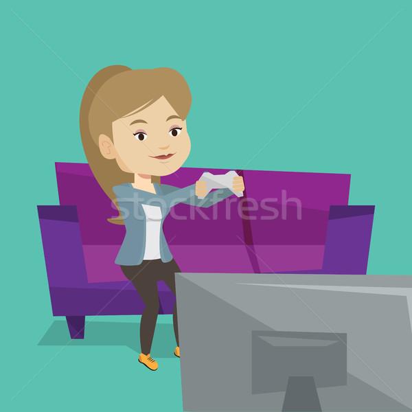 Woman playing video game vector illustration. Stock photo © RAStudio