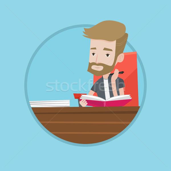 学生 書く ノートブック 白人 座って 表 ストックフォト © RAStudio