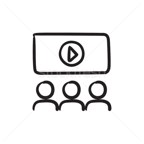 Regarder cinéma croquis icône vecteur isolé Photo stock © RAStudio