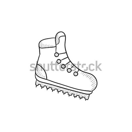 Hiking boot with crampons sketch icon. Stock photo © RAStudio