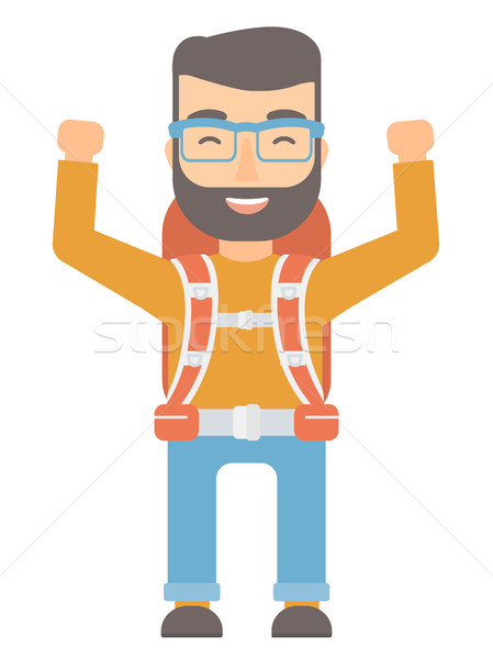 Backpacker with hands up vector illustration. Stock photo © RAStudio