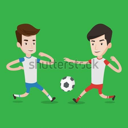 Сток-фото: два · мужчины · Футбол · мяча