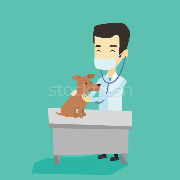 Vétérinaire chien jeunes asian hôpital Photo stock © RAStudio