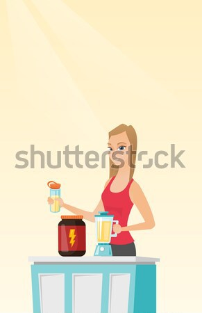 Woman holding tray full of fast food. Stock photo © RAStudio
