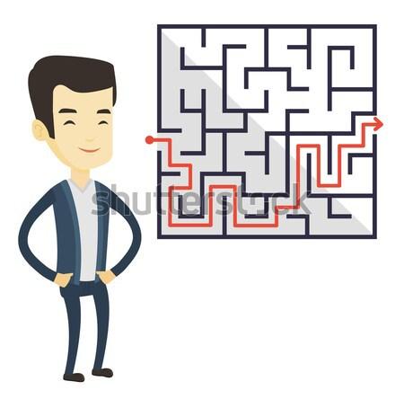 Zakenvrouw naar labyrint oplossing jonge zakenvrouw Stockfoto © RAStudio