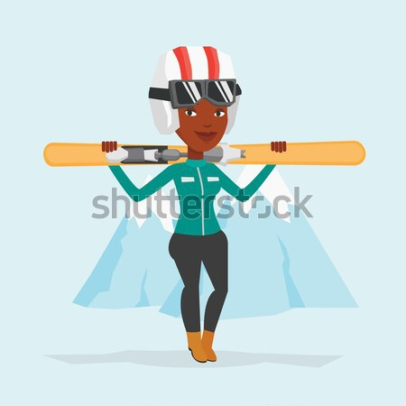 Man holding skis vector illustration. Stock photo © RAStudio