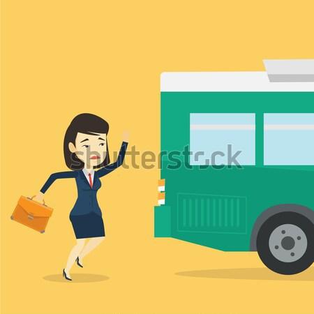 Latecomer woman running for the bus. Stock photo © RAStudio