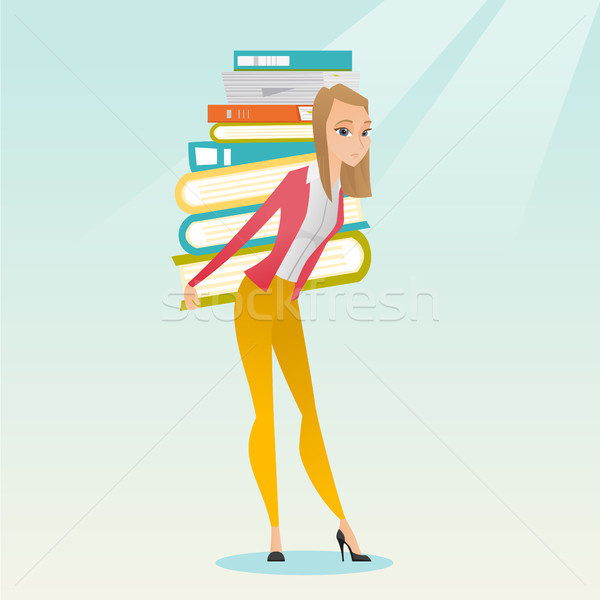 Student boeken kaukasisch moe Stockfoto © RAStudio