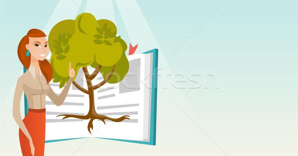 Stock fotó: Diák · mutat · fa · tudás · kaukázusi · áll