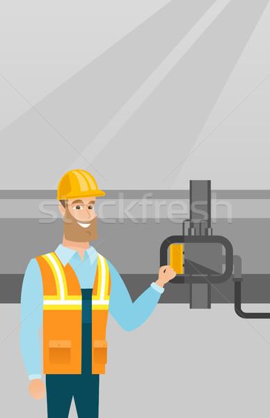 Operador detector gas tubería caucásico refinería de petróleo Foto stock © RAStudio