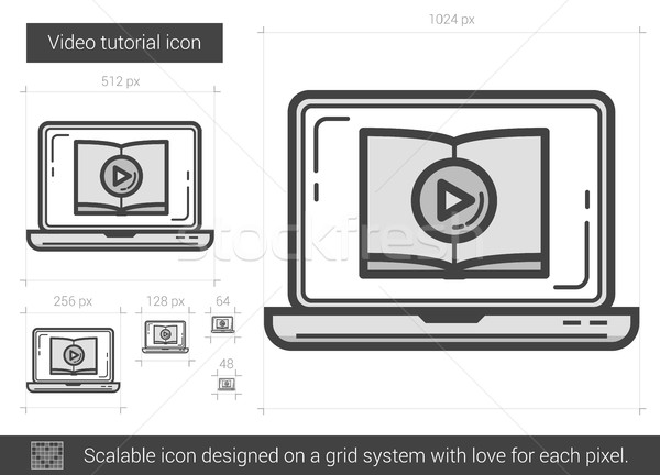 Videó tutorial vonal ikon vektor izolált Stock fotó © RAStudio