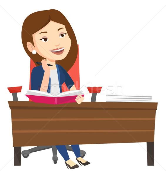 学生 書く デスク 白人 女性 座って ストックフォト © RAStudio