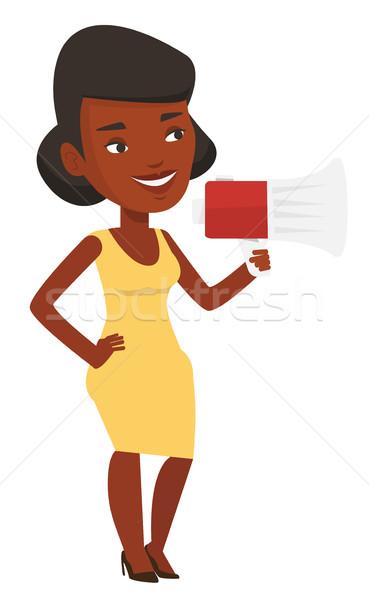 Mulher jovem megafone africano mulher Foto stock © RAStudio