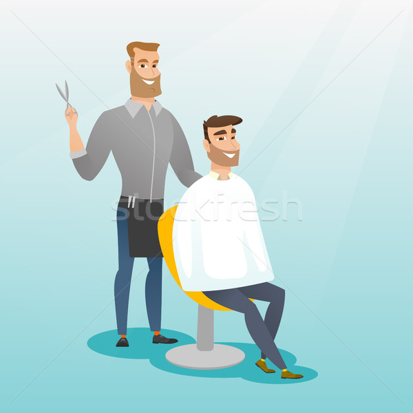 Barber making haircut to young man. Stock photo © RAStudio