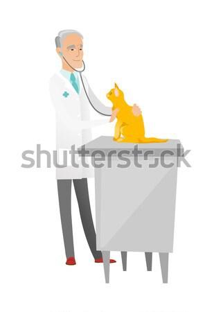 ветеринар кошки африканских больницу сердцебиение Сток-фото © RAStudio