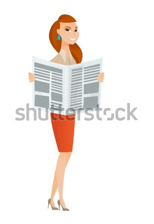 Lady drinking coffee and reading news in newspaper Stock photo © RAStudio