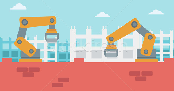 Robotic arms working on the construction site. Stock photo © RAStudio