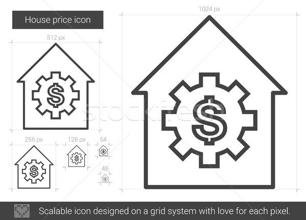 Domu cena line ikona wektora odizolowany Zdjęcia stock © RAStudio