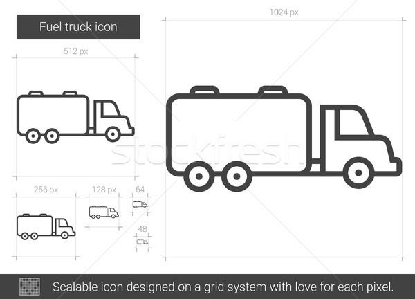 Paliwa ciężarówka line ikona wektora odizolowany Zdjęcia stock © RAStudio