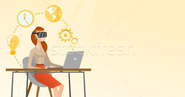 ストックフォト: ビジネス女性 · ヘッド · 作業 · コンピュータ · 白人 · 着用