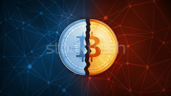Gold bitcoin coin hard fork concept. Stock photo © RAStudio