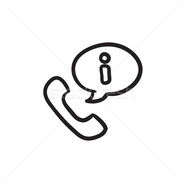 Telefonkagyló információ jel rajz ikon vektor izolált Stock fotó © RAStudio